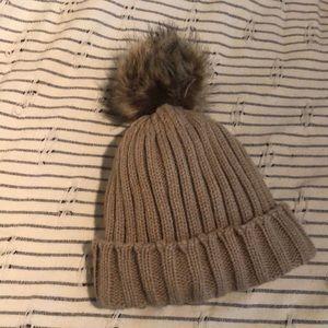 Tan ALDO hat with Pom Pom